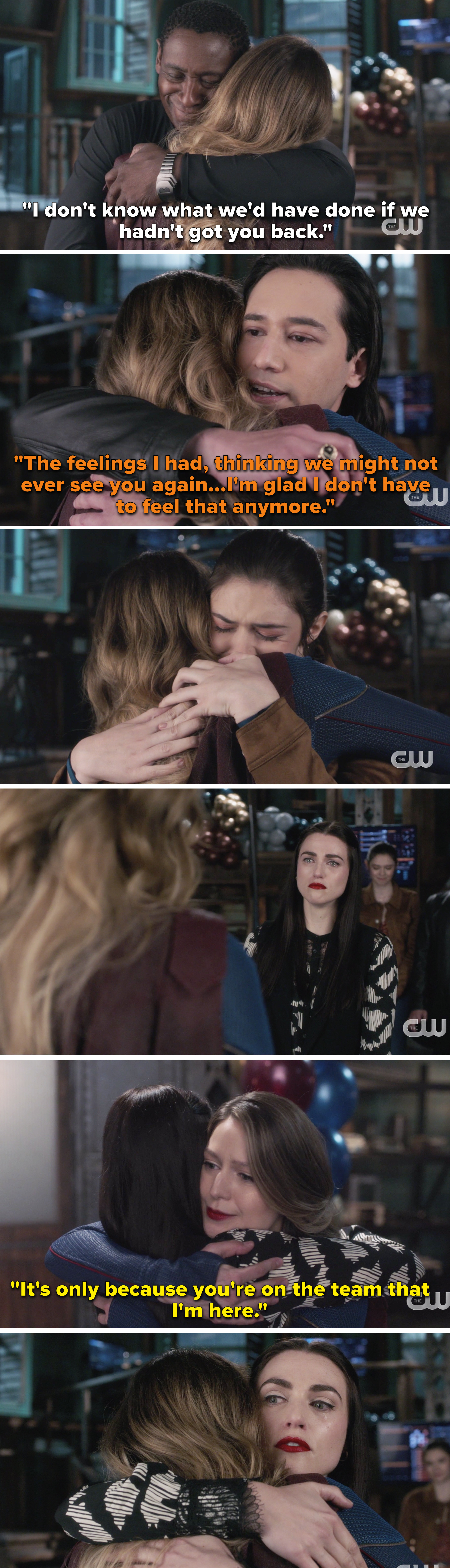 """J'onn and Brainy saying how much they missed Kara, and Kara hugging a crying Lena and saying, """"It's only because you're on the team that I'm here"""""""
