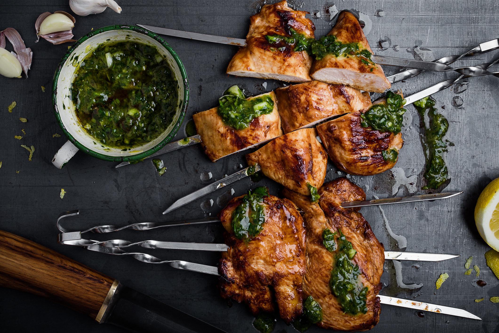 Juicy chicken skewers.