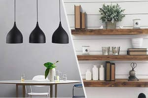 3 black metal pendant lights over a dining table, 3 wooden floating wall shelves