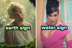 On the left, Taylor Swift in the Cardigan music video labeled earth sign, and on the right, Cardi B in the WAP music video labeled water sign