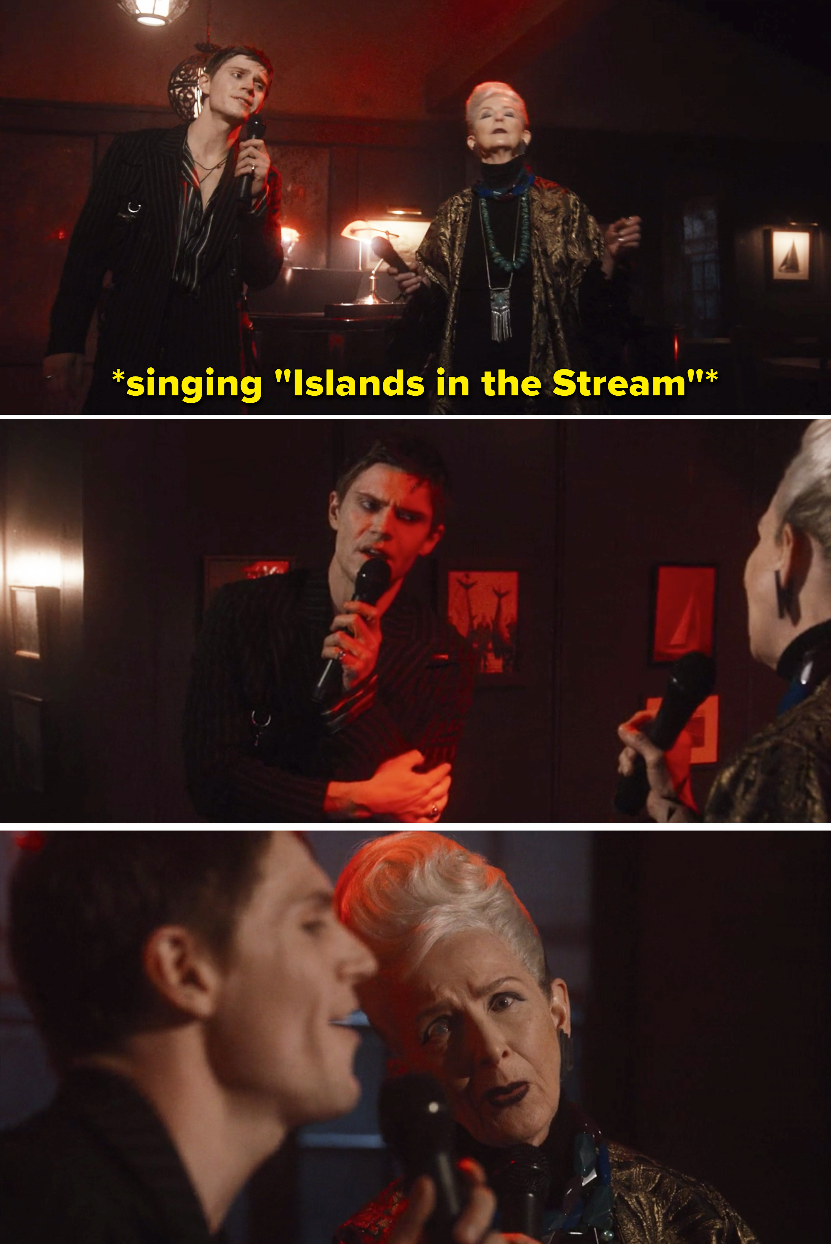"""Evan Peters and Frances Conroy singing """"Islands in the Stream"""""""