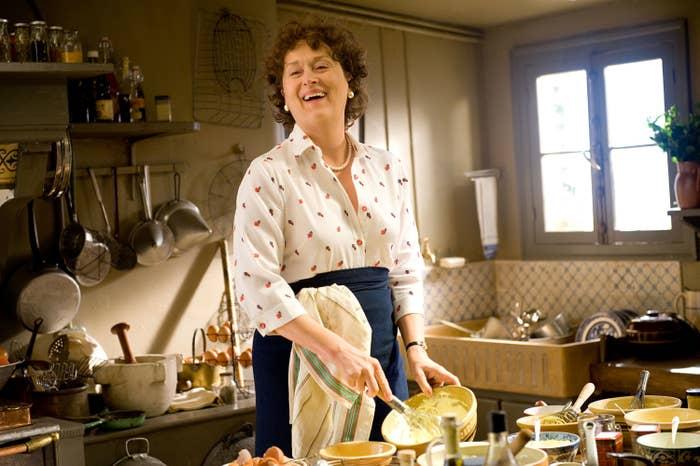 """Meryl Streep in """"Julie and Julia"""" cooking."""