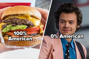 Hamburger with 100% american and harry styles with 0% american