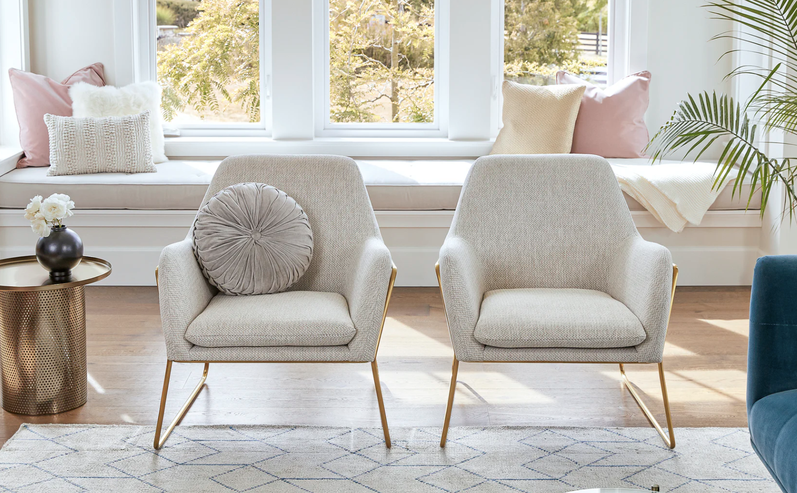 two white arm chairs