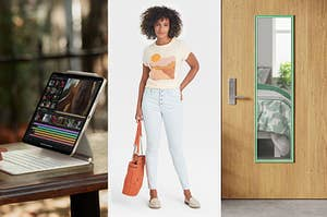 apple ipad pro a model wearing light wash skinny jeans and a door mirror