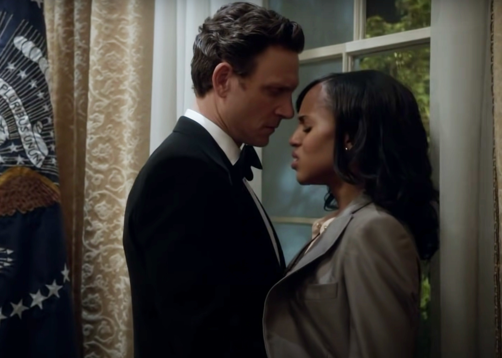 Fitz and Olivia face each other in Fitz's office