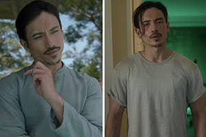Two stills of Manny Jacinto in Nine Perfect Strangers