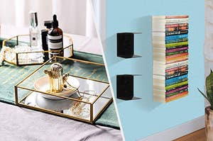 gold mirror bottom accessory tray, floating invisible shelves with books mounted on a wall
