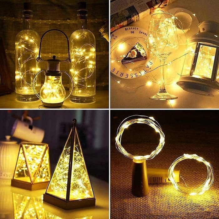 4 images showing different ways the battery operated cork LED string lights can be decorated while lit up. They are kept in lanterns and glass holders.