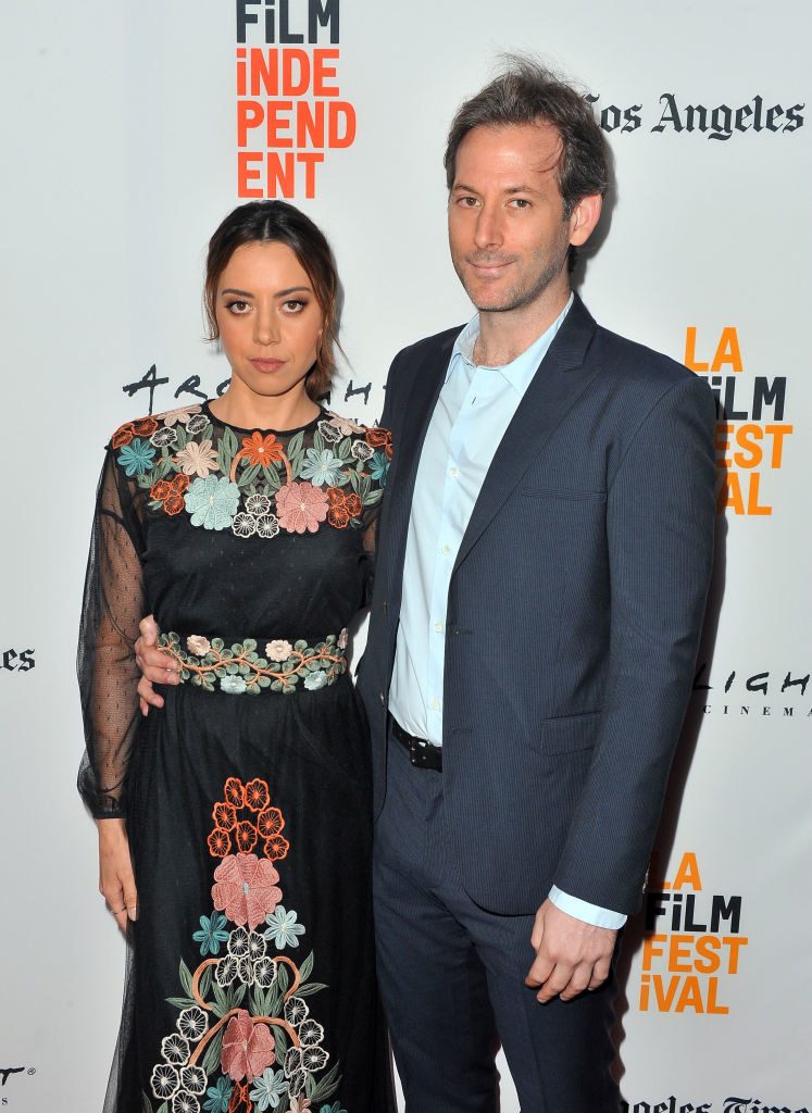 Aubrey posing with Jeff at the LA Film Festival