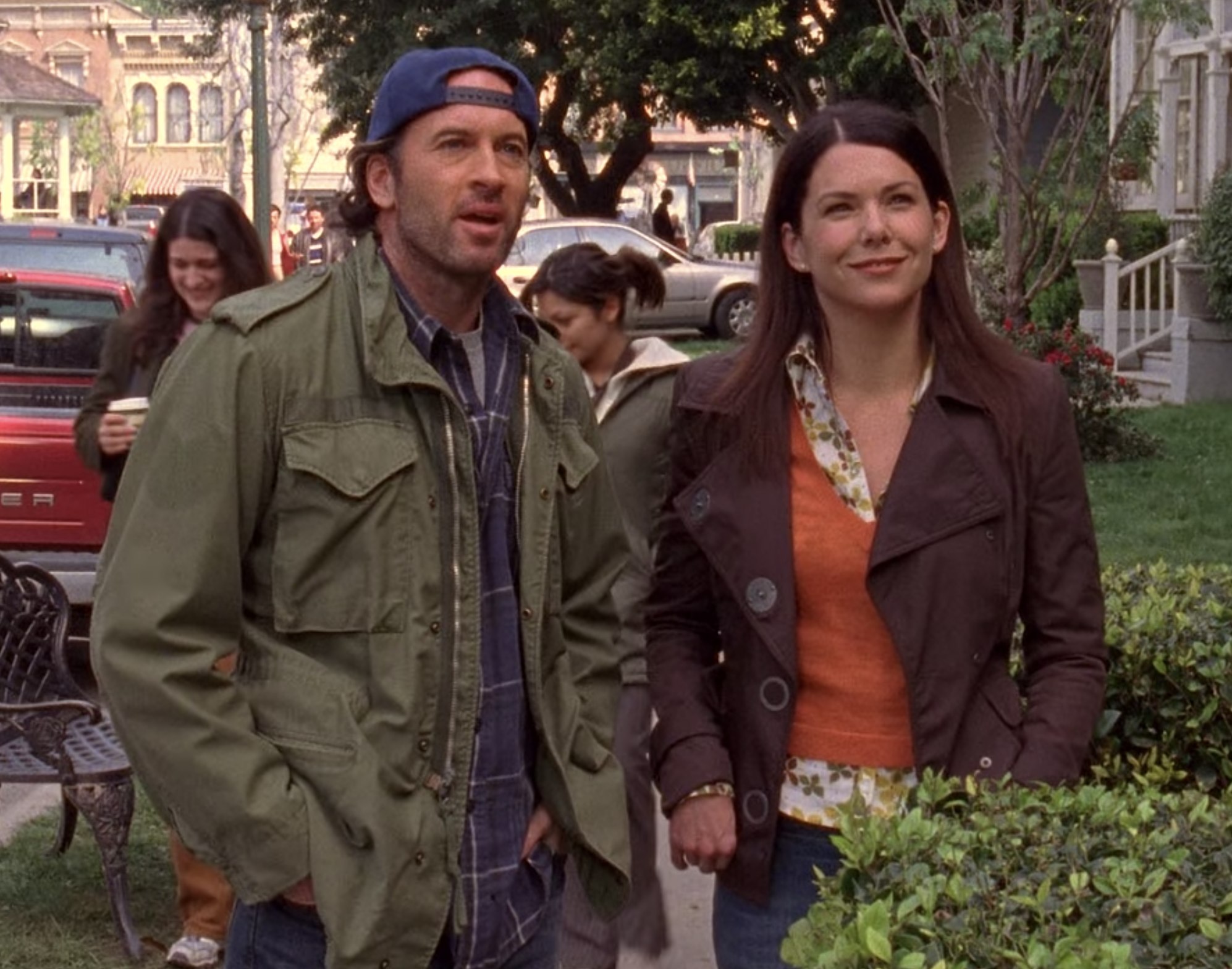 Lorelai is standing with Luke in Stars Hallow