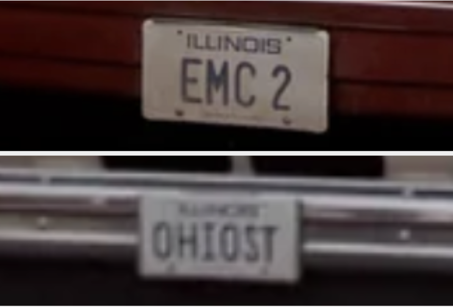 A close-up of the license plates