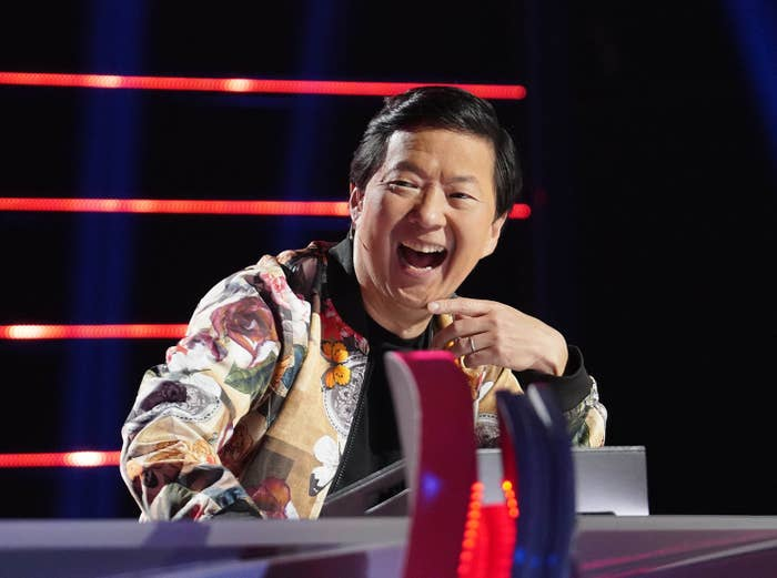 A man laughing