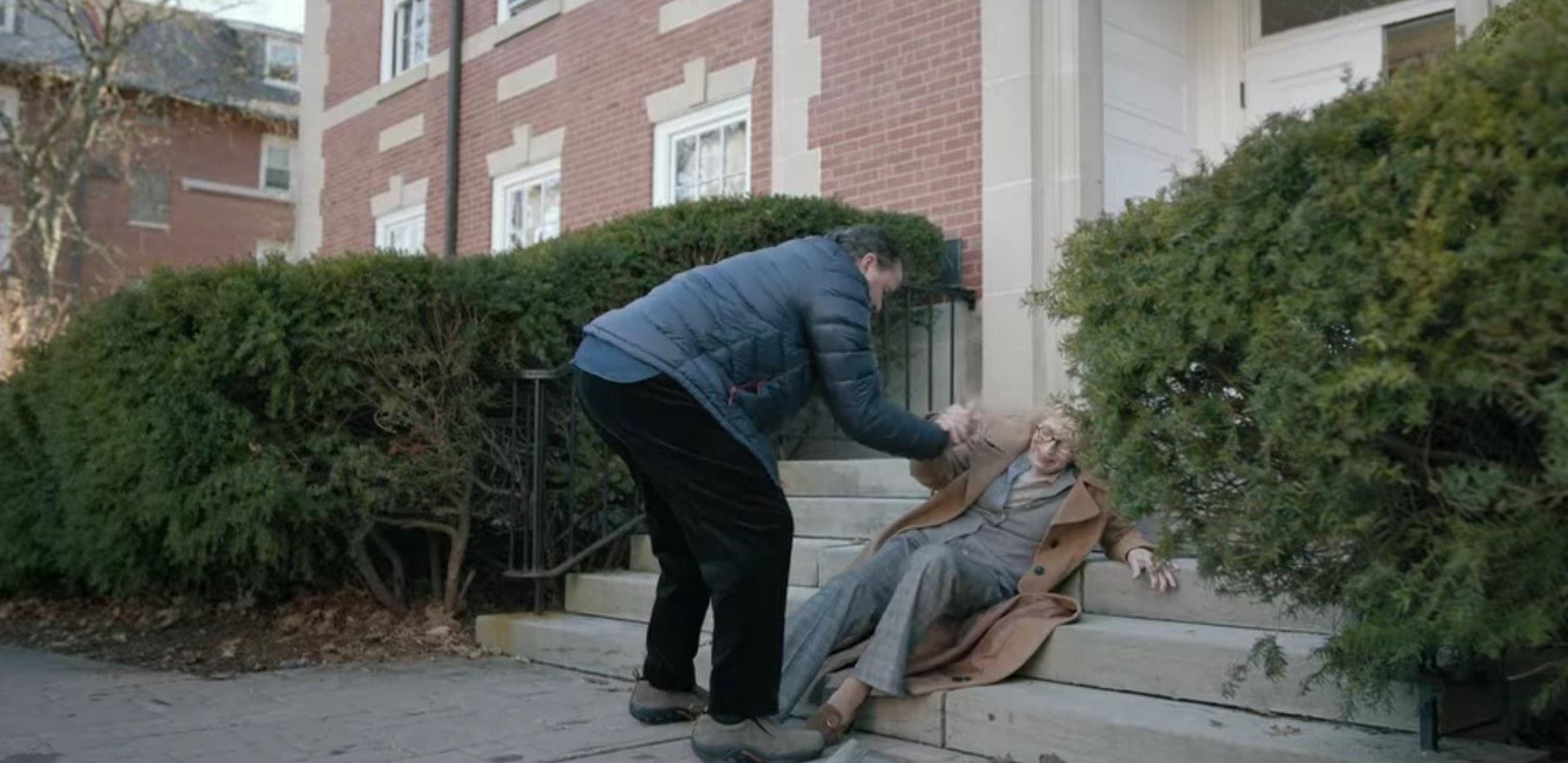 Joan falls down