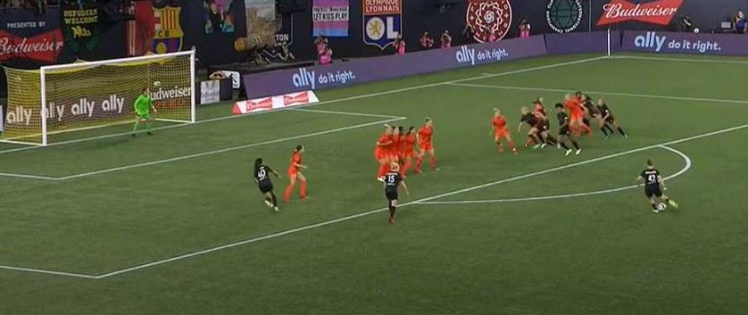 Olivia Moultrie kicks ball on a free kick