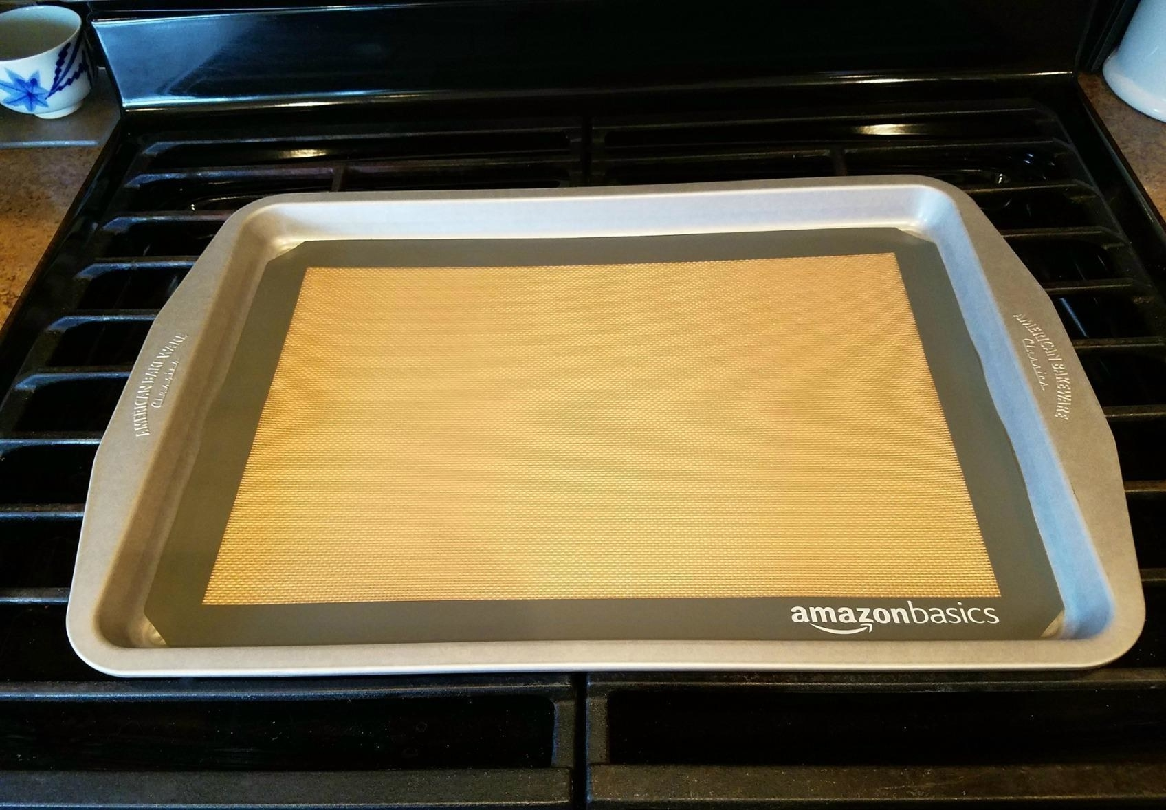Silicone baking mat on a cookie sheet
