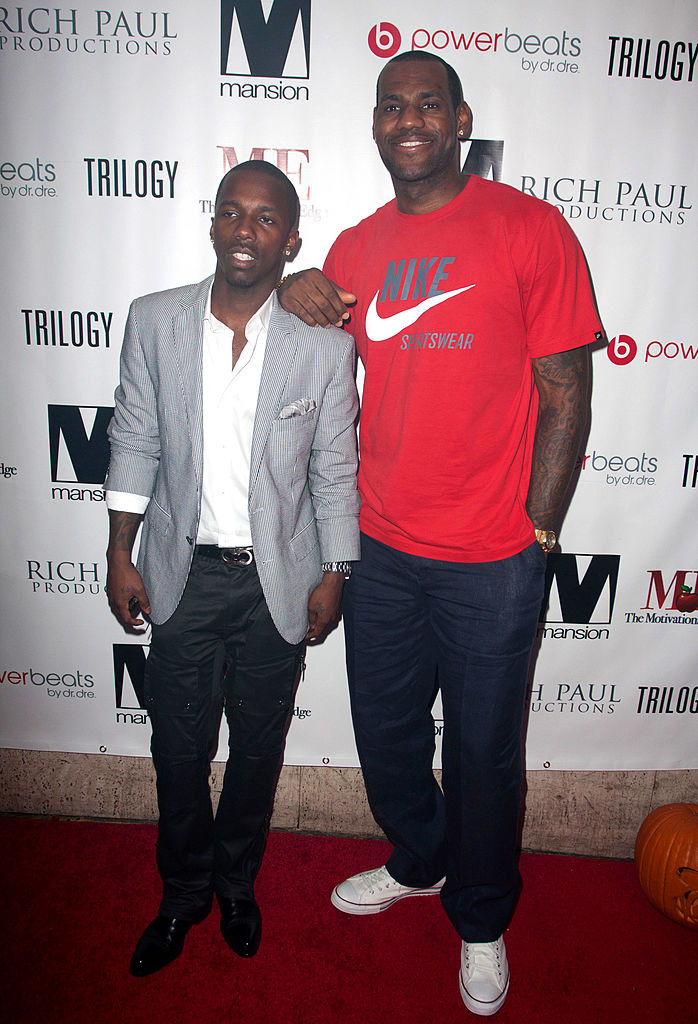 Rich Paul and LeBron James arrive at Mansion nightclub
