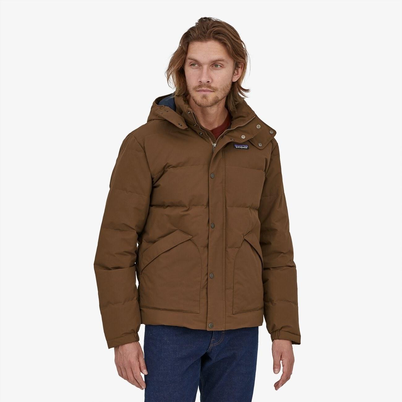 model wearing the Patagonia jacket in brown