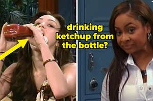 drinking ketchup from the bottle
