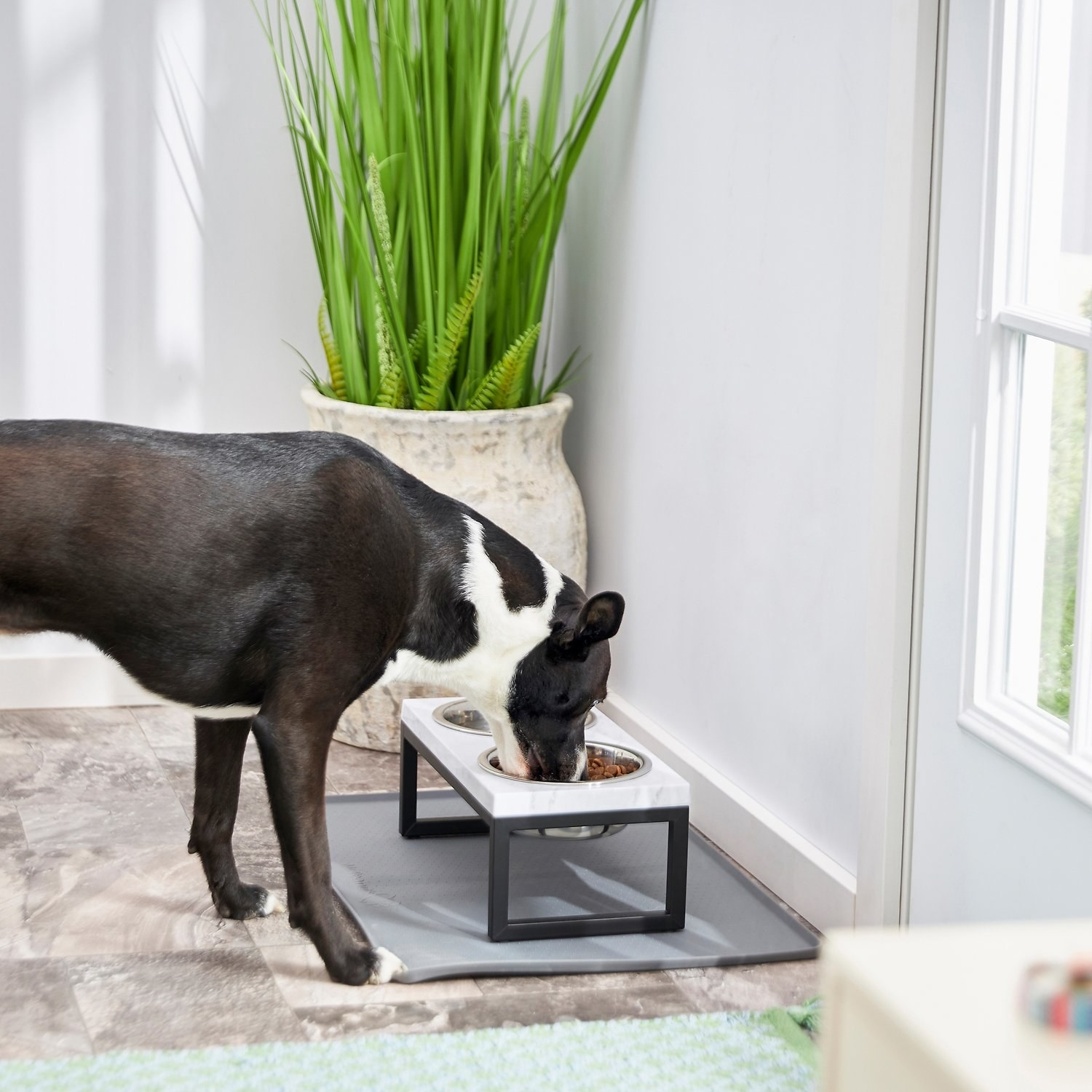 A faux marble elevated dog bowl.