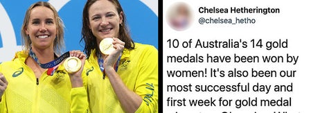 Left: The women of Australia's swim team posing with an Olympic medal; Right: A tweet pointing out that 10 of Australia's 14 gold medals have been won by women