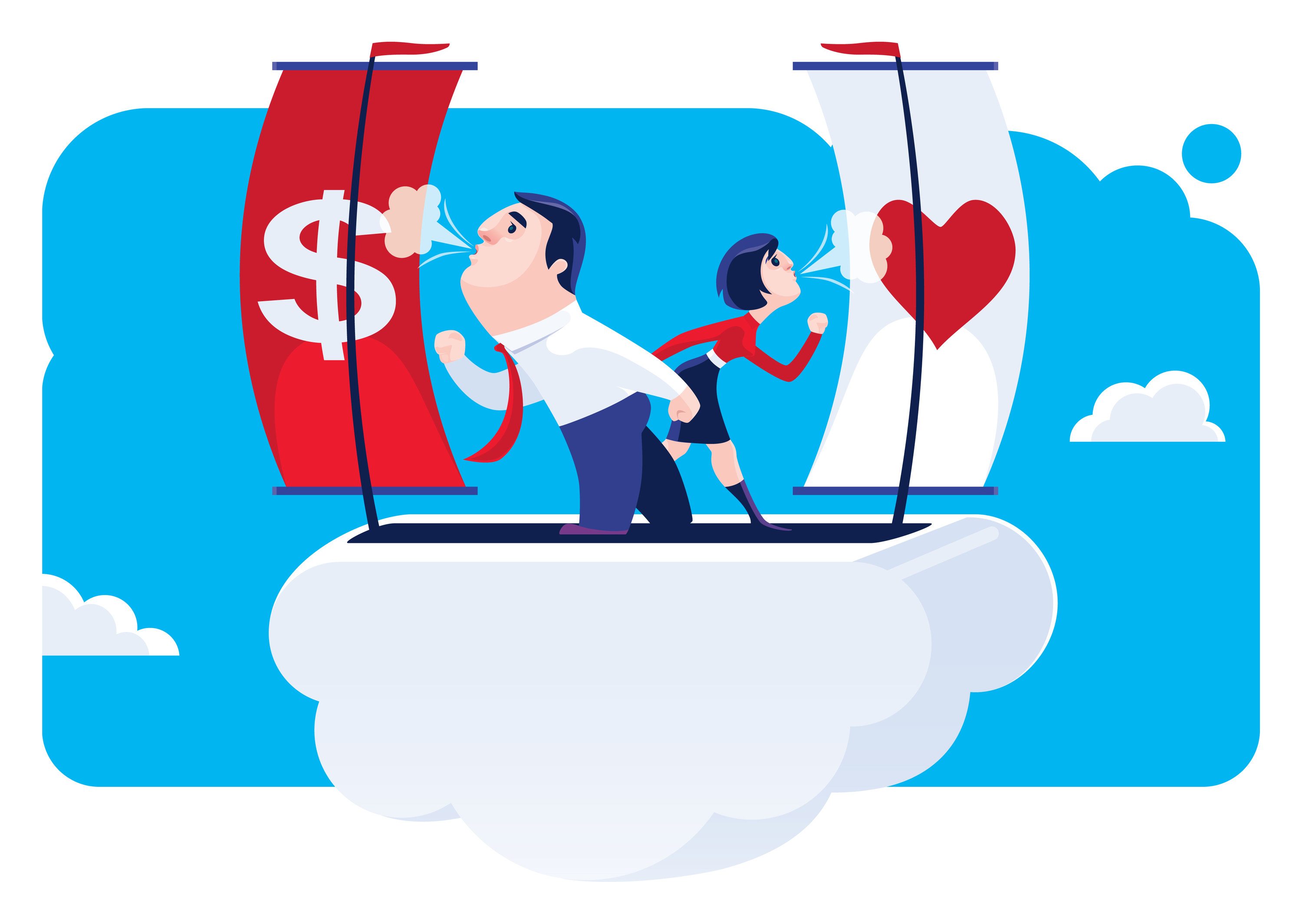 man and woman on cloud blowing money sails