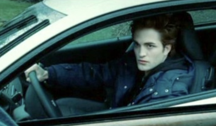 Robert Pattinson driving a car in Twilight