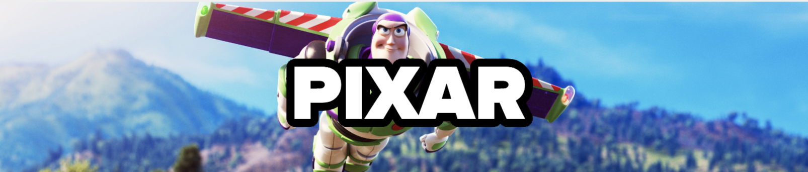 PIXAR, with Buzz Lightyear in the background