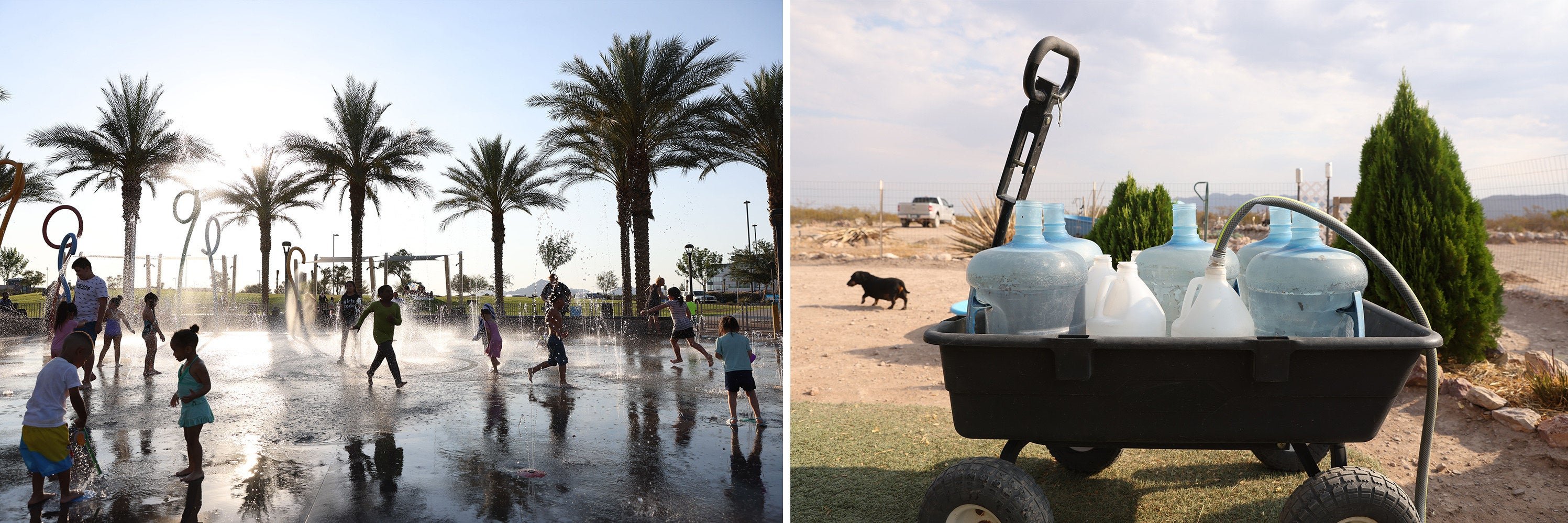 Side-by-side images show kids playing in a water park and water jugs sitting in a wagon