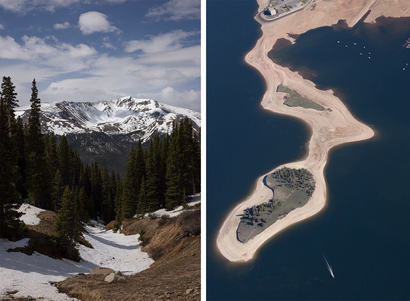 A snow-capped mountain and a half-empty lake seen from the sky in adjacent photos