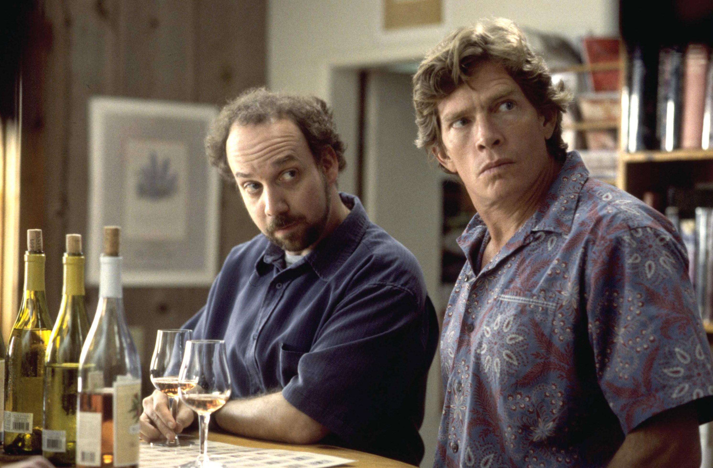 Paul Giamatti and Thomas Haden Church drink wine