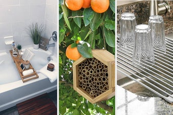 bath tub caddy a bee house and a rolling dish rack
