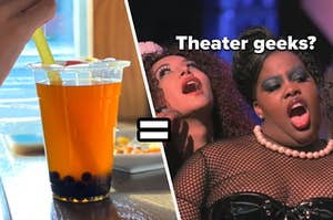 A woman drinks a bubble tea through a neon colored straw and Mercedes Jones and Santana Lopez stand on stage with this mouths open as they sing
