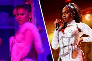 Ariana Grande stands in neon colored lighting and Normai stands on stage with one hand on her hip