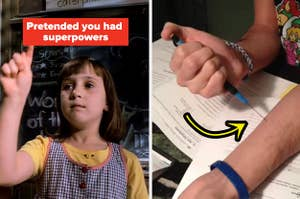 matilda on the left and a man pretending to use a mechanical pencil as a needle on the right