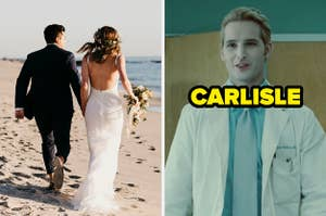 On the left, a bride and groom walking on the beach, and on the right, Carlisle from