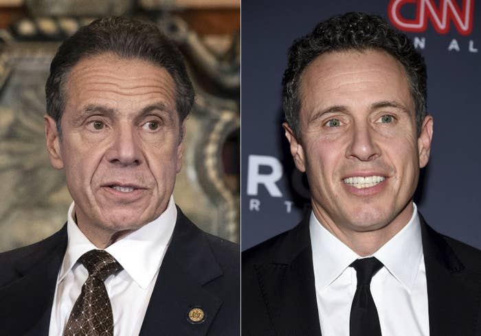 Andrew and Chris Cuomo are shown in a composite image