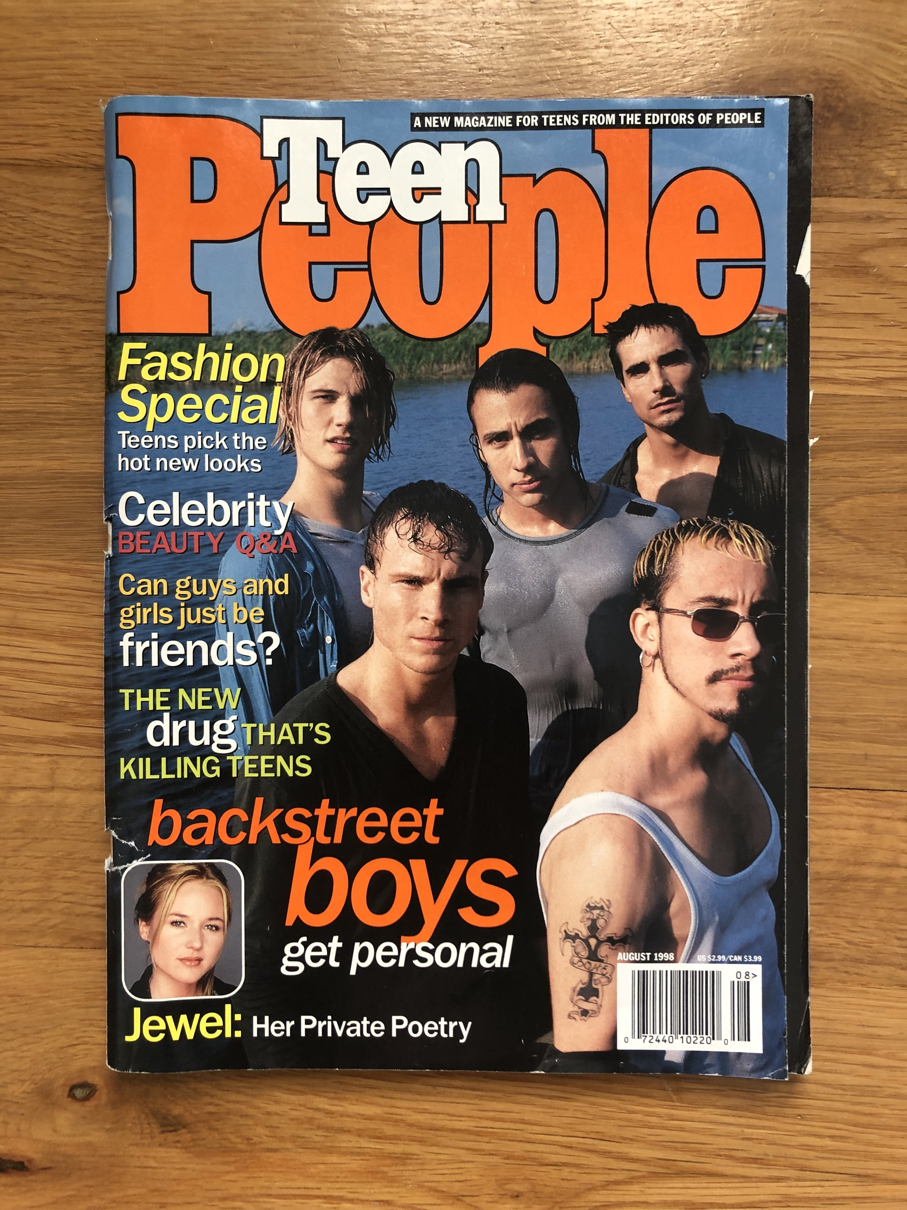 """Magazine cover also includes article titles, like: """"Jewel: Her Private Poetry,"""" """"Fashion Special: Teens pick the hot new looks"""""""