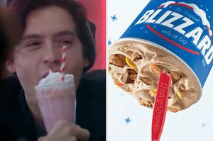 Jughead is on the left sipping a milkshake with a Blizzard on the right