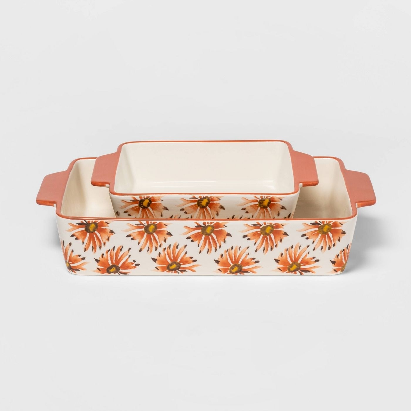 the two floral casserole dishes