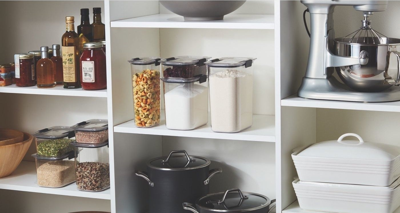 the containers on shelves