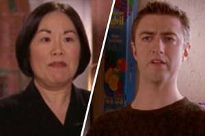 A close up of Mrs. Kim as she stands in her store and Kurt is mid sentence