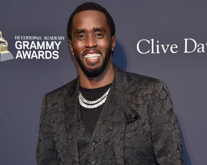 Diddy smiles big while attending a Grammy event