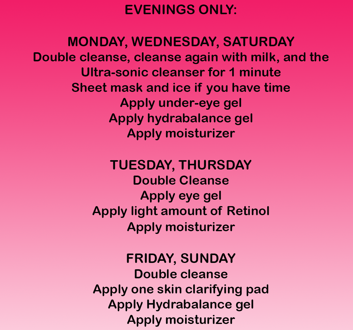cleansing routine showing cleansing with oil and milk cleanser, followed by hydrabalance and eye cream