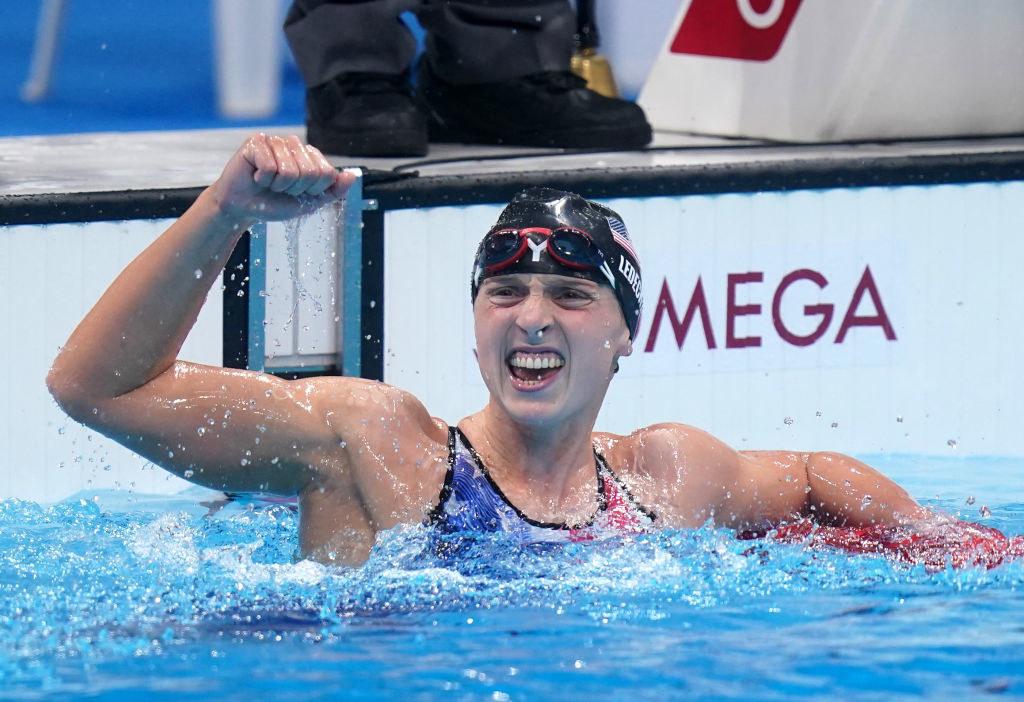 Katie Ledecky celebrates winning the Women's 1500m freestyle