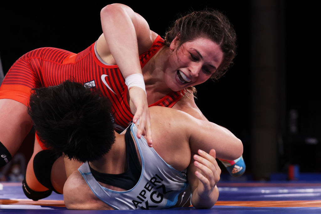 Gray competing against Team Kyrgyzstan during the Women's Freestyle 76kg Semi Final