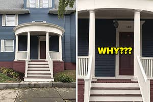 """A house with an off-center front door and the text """"WHY???"""""""