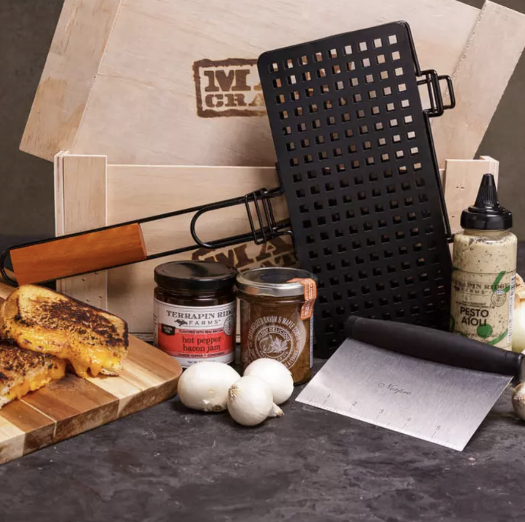 an array of fancy items to make a grilled cheese with