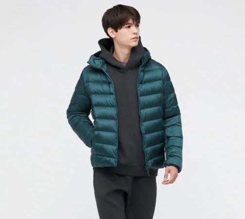 model wearing the jacket in green