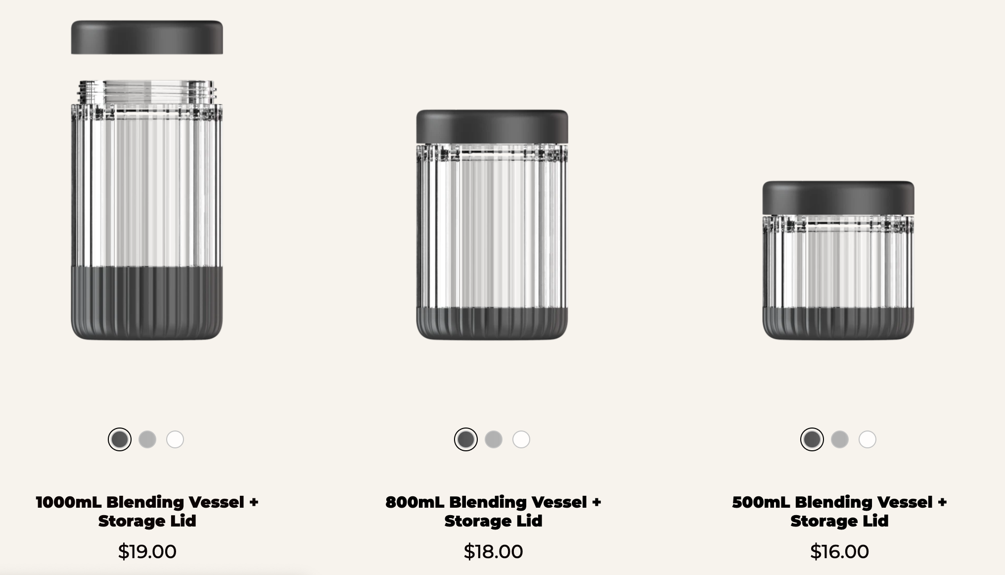 The three container sizes